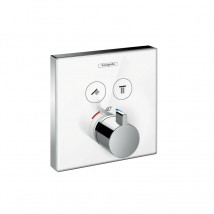Hansgrohe ShowerSelect 15738400 Designer Shower Thermostat 2 Outlets White Glass