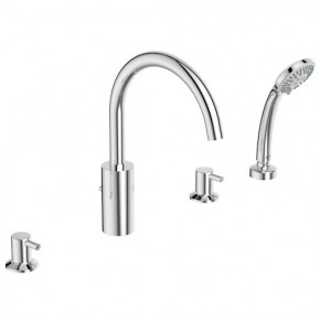Ideal Standard Ceraline Bath Mixer 4 Holes Pull-Out Hand Shower Deck Mounted BC198AA