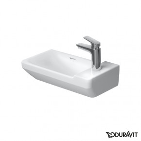 Duravit P3 Comforts Wall Mounted Bathroom Sink 50cm Compact Size Square 07155000001