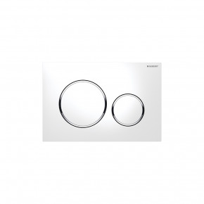 Geberit SIGMA 20 WC Actuator Dual Flush Plate In-Wall Flushing Buttons White/Chrome