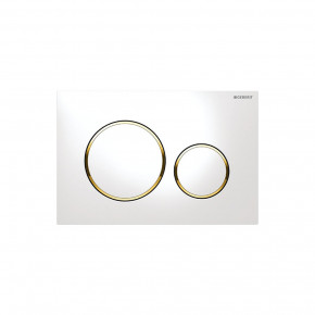 Geberit SIGMA 20 WC Actuator Dual Flush Plate In-Wall Flushing Buttons White/Gold