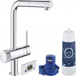 Grohe Blue Filtration System Kitchen Faucet L-Spout Pull Out Swivelling 33249001