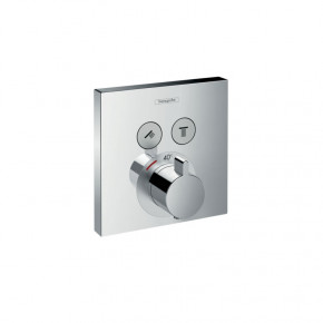 Hansgrohe ShowerSelect 15763000 Built-In Shower Thermostat for 2 Outlets Square Plate