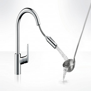 Hansgrohe FOCUS Tall Kitchen Faucet Mixer Swivel w/ Pull Out Spout