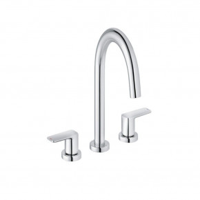 KLUDI Pure & Style 2-Lever Basin Mixer C-Spout with Metal Waste Set 403930575