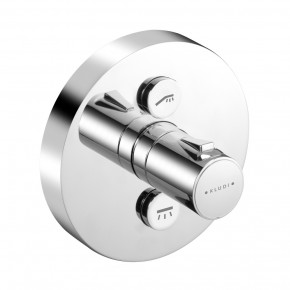 KLUDI PUSH In-Wall Shower Thermostat 2 Outlets Round Push-Button Control 388120538