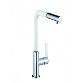 KLUDI L-INE S Single Lever Sink Mixer DN 15 Pull Out Hand Spray / White 408519375