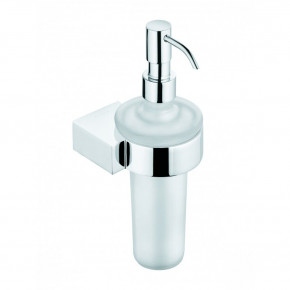 KLUDI A-XES Wall-Mounted Soap Dispenser White Matte Glass and Chrome 4897605
