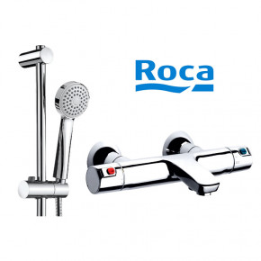 Roca VICTORIA Thermostatic Shower Mixer w/ Hand Shower, Hose and Wall Bar PROMO SET
